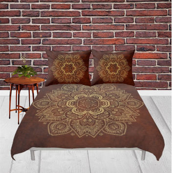 Duvet Cover - 3 different sizes, Without Insert, Bedroom, Home decor, Mandala, Boho, Hippie, With or Without Shams, Rusty, Red, Yellow