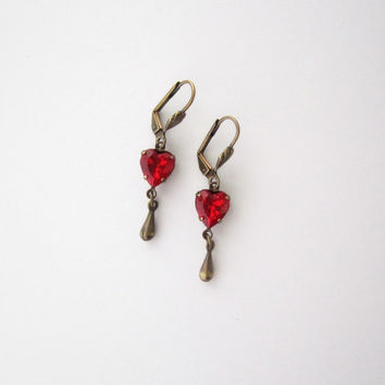 Heart Earrings - Romantic Valentine Jewelry - Red Glass Jewels