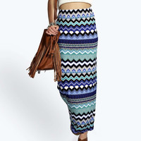 Blue Geometric Print Long Pencil Skirt