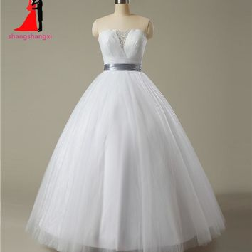 Tulle Crystal White Quinceanera Dress with Silver Belt