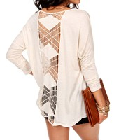 Natural Crochet Back Long Sleeve Top
