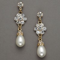 Pearl Drop and Floral Crystal Earring - David's Bridal