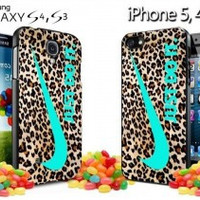 nike leopard pattern tiffanny blue logo colours iPhone Case And Samsung Galaxy Case