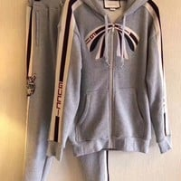Gucci stripe zip up sweatshirt cotton jogging pant Two-Piece