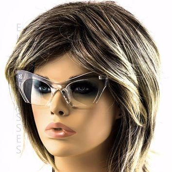 Cat Eye Women Sun Glasses Retro Vintage Clear Lens W/Clear Half Cut Off Frame