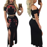 Flower Embroidery Straps Crop Top with Long Split Skirt Two Pieces Dress Set