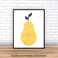 Kitchen Art, Scandinavian Art, Instant Download, Pear Print, Printable Art, Wall Decor, Abstract Art Print, Wall art