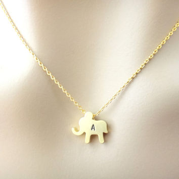 Small baby elephant necklace, initial elephant necklace, cute, minimal, jewelry for her, gold necklace, animal necklace, gift