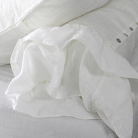 Ruffled Stonewashed Pure Linen Bolster