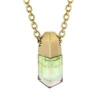 Bi-Color Tourmaline Crystal Necklace - Yellow Gold