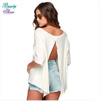 Half Sleeve Loose t shirt Women Fashion Round Neck White Backless Cropped tshirts Casual Women Tops Sexy Crop Top Clothing