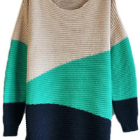 ROMWE | Green Black Beige Long Sleeve Geometric Asymmetrical Sweater, The Latest Street Fashion