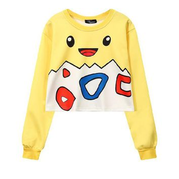 Togepi 3-D Pokemon Printed Women's Crop Top Sweatshirts ONE SIZE