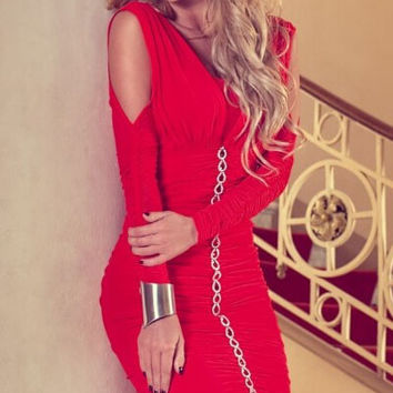 Red Ruched Cut-out Mini Dress with Chain detail
