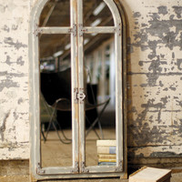 Wooden Arched Window Mirror with Metal Door Hardware