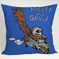 Rocket Groot Like As Calvin and Hobbes Pillow Case (16x16 one side)
