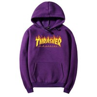 ONETOW THRASHER Flame hooded Sweater Men and Women's Clothes purple