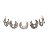 Indio Choker Necklace Set In Turquoise & Silver