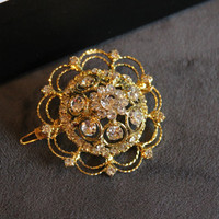 SALE Gold Brooch Barette- gold metal brooch with rhinestones,on gold plated barette-perfect for special occasions