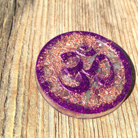 Om Symbol Pocket Orgonite, spiritual gifts, purple