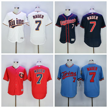 Minnesota Twins 7 Joe Mauer Jersey Flexbase Throwback Joe Mauer Baseball Jerseys Uniforms Cool Base Vintage Red Blue Pullover White Grey