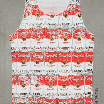 Campbell's Soup Tomato Shirt Andy Warhol Tank Top Vest Tunic Red White Singlet Sleeveless Women Pop Art  Rock T-Shirt Size S-M