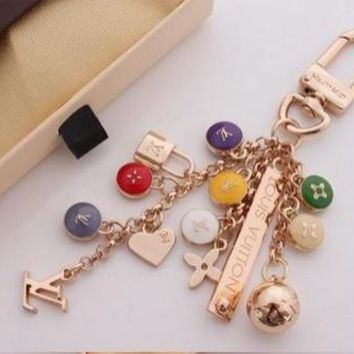 Beady LogoZ Design Bag Tag Keychain Gold & Multicolor Locks & Hearts