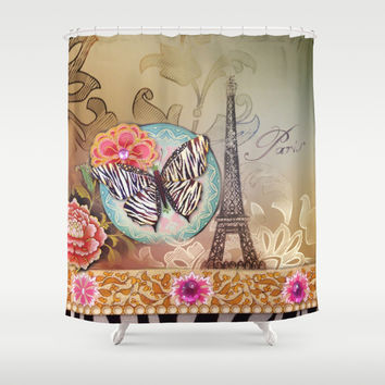 zebra print butterfly collage vintage Paris Eiffel Tower art Shower Curtain by Chicelegantboutique