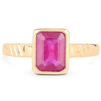 LoveHuang 2.16 Carats Genuine Ruby Mark lll Ring Solid .925 Sterling Silver With 18KT Yellow Gold Plating