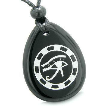 Amulet All Seeing Eye of Horus Ancient Circle of Life Spiritual Protection Onyx Pendant Necklace