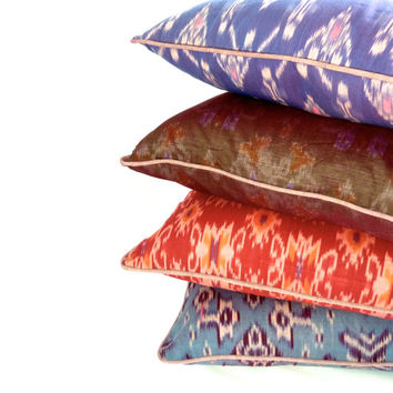 Set of 4 Bali ikat throw pillow covers- blues, purples, reds, greys all with lavender piping - 18""