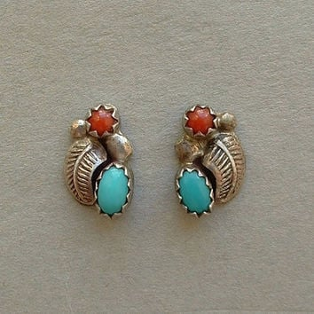 Old Pawn Vintage Native American NAVAJO Coral Turquoise Stud Earrings Earring Studs STERLING Silver Feather Leaf c.1950s