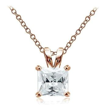 Rose Gold Tone on 925 Silver 5.5ct Cubic Zirconia 10mm Square Solitaire Necklace