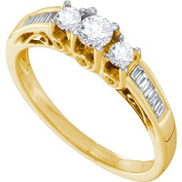 Diamond 3 Stone Bridal Ring in 14k Gold 0.51 ctw