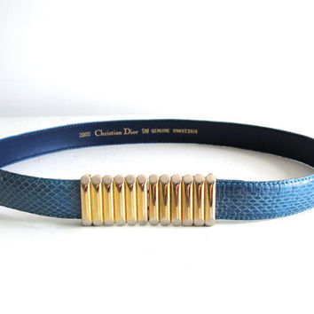 Vintage Christian Dior Thin Blue Snakeskin Gold Buckle Belt