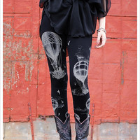 Hot Air Ballon Leggings - BLACK - Bottoms - Womens Tights - PANTS Legwear - xL