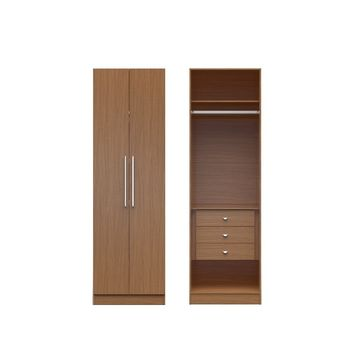 Manhattan Comfort Chelsea 1.0 - 27.55 inch Wide Basic Wardrobe Closet with 3 Drawers and 2 Doors