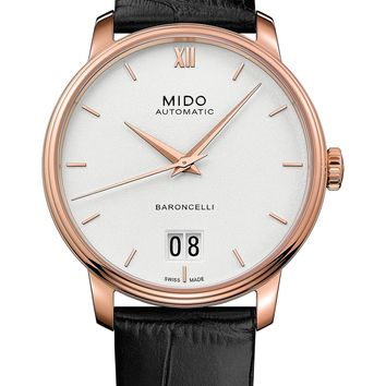 MIDO Baroncelli III Automatic Leather Strap Watch, 40mm | Nordstrom