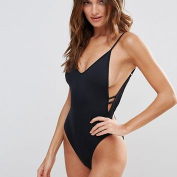 Lost Ink Side Plunge Swimsuit at asos.com
