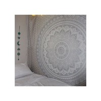 "Exclusive ""Gray Ombre Tapestry by JaipurHandloom"" Mandala Tapestry, Queen, Multi Color Indian Mandala Wall Art, Hippie Wall Hanging, Bohemian Bedspread"