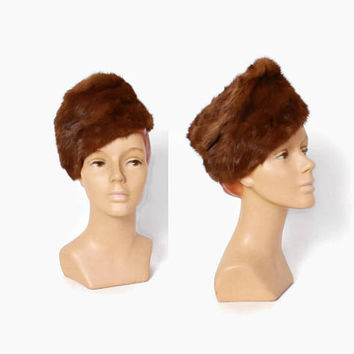 Vintage 40s Mink Fur HAT / 1940s Tall Sloped Crown Brown Genuine Fur Winter Hat