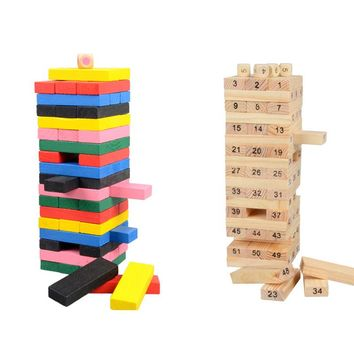 23cm Large Wooden Tower Wood Toy Domino Stacker Extract Figure Blocks Jenga Game Healthy Funny Children's Toy Draw Block Playing