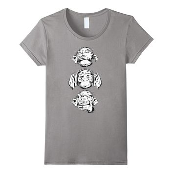 Three Wise Monkeys Design Monkey Face Funny Tshirt
