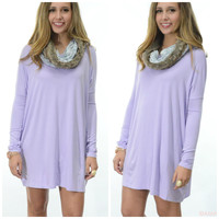 Ellington Lilac Piko Long Sleeve Dress