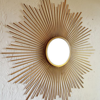 Starburst Mirror Shabby Chic Vintage looking Sunburst Mirror Mid-Century Sputnik Mid Century French Country Cottage Wall Mirror