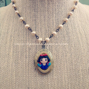 creme de la gems polymer clay girls princess cameo locket necklace - snow white - cremedelagems