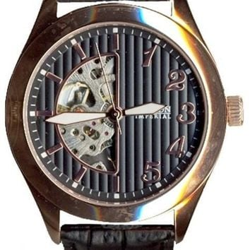 Croton Mens Stainless Steel Rosetone Skeleton Automatic Watch