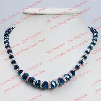 Fashion Dark Blue Crystal Glass Faceted Beads Magnetic Clasp Necklace  45CM one piece 201