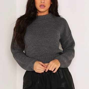 DARK GREY RIBBED KNIT CROPPED JUMPER