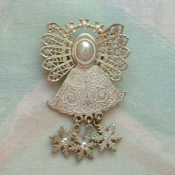 Cole Kenneth Angel Brooch Pin White Enameling AB Rhinestones